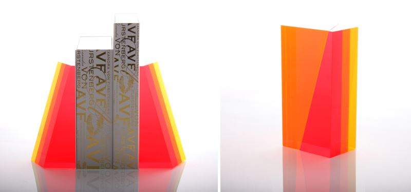 Acrylic bookends from Alexandra Von Furstenberg