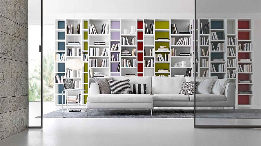 Add a splash of color to your bookcase system