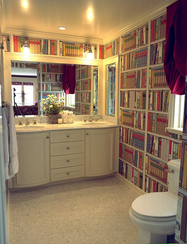 Add a wall of books to your bathroom with ease! [Design: Reaume Construction & Design]