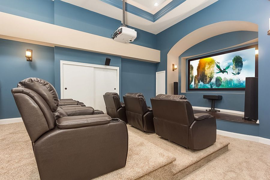 Charmant View In Gallery Add Some Color To Your Gorgeous Home Theater [Design: Finished  Basement Company]