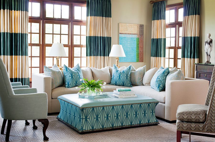 Add some stripes to the room with drapes [Design: Tobi Fairley Interior Design] : same-curtains-in-every-room - designwebi.com