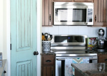 Aqua Door in Country Style Kitchen 217x155 8 Pretty Pantry Door Ideas That Showcase Your Storeroom as a Star