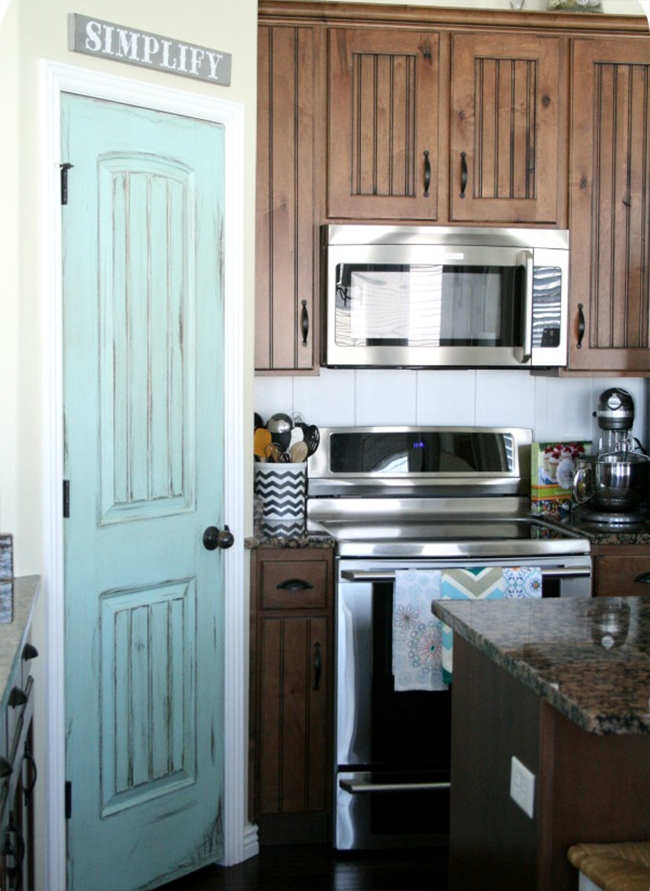Aqua Door in Country Style Kitchen