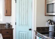 Aqua Door in Rustic Kitchen