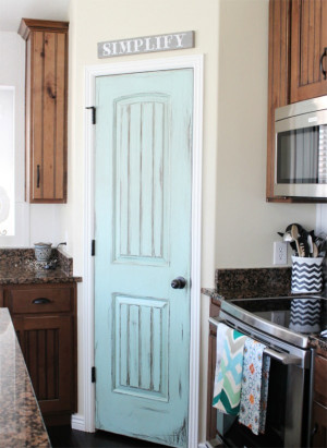 Aqua Door in Rustic Kitchen