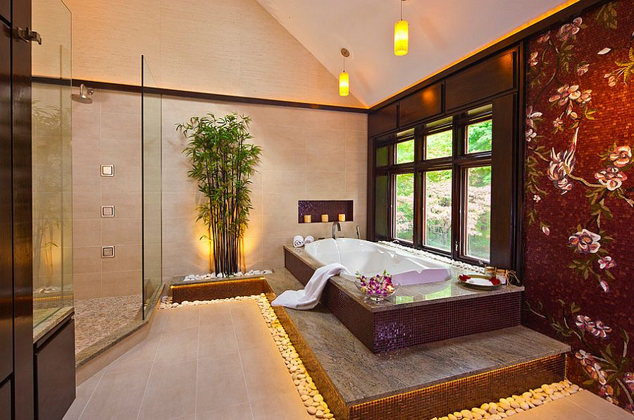 Backlit bamboo feature adds a sense of serenity to the sophisticated bathroom