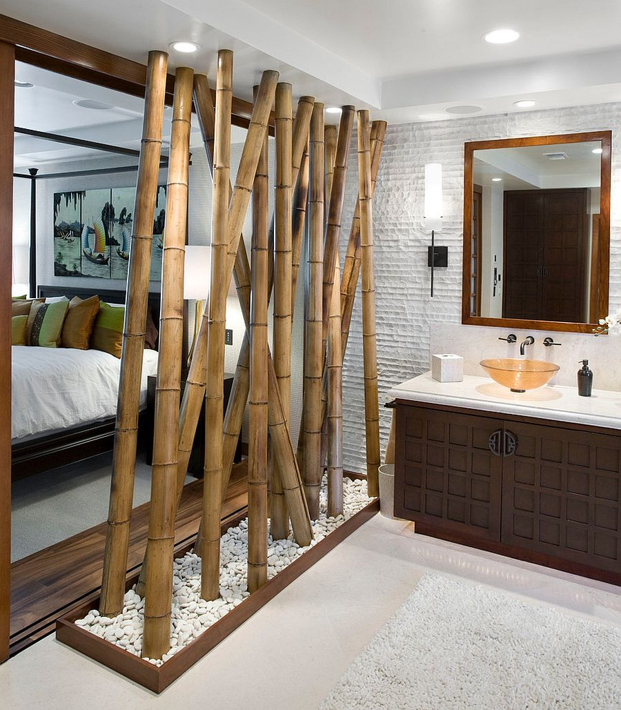 Bamboo feature acts as a partition between the bedroom and bath [Design: Arch-Interiors Design Group]