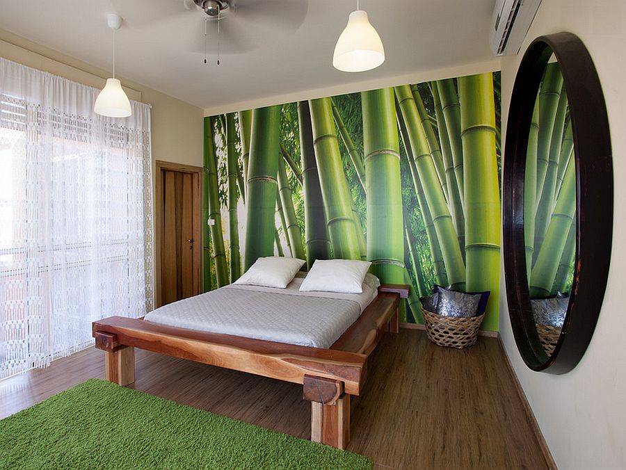 easy bamboo interior decoration.  Bamboo print steals the show in this elegant bedroom Design Echo 15 Inspired Ways to Bring Home Goodness of