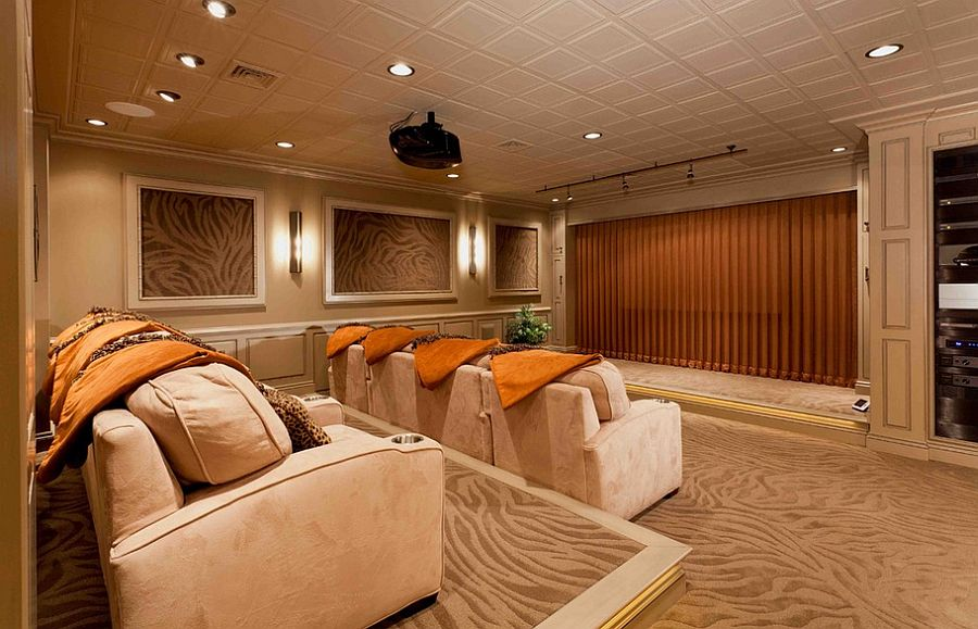 View in gallery Basement remodel turns the space into a lavish home theater  [Design: Custer Design Group