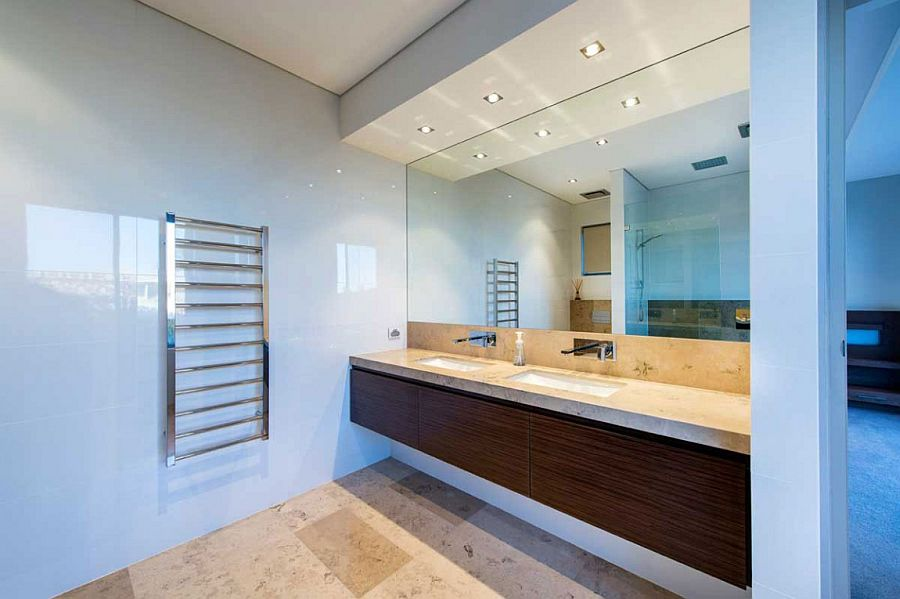 Bathroom vanity in wood adds warmth to the space