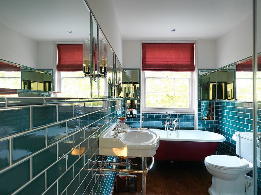 Bathroom with teal tiles and a bathtub in red! [Design: Wells & Trembath]