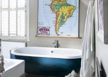 Bathtub brings blue beauty to this eclectic bathroom