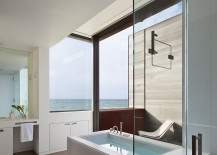 Beautiful contemporary bathroom in white with ocean views