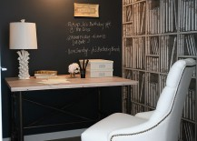 Beautiful home office with chalkboard wall and Fornasetti wallpaper