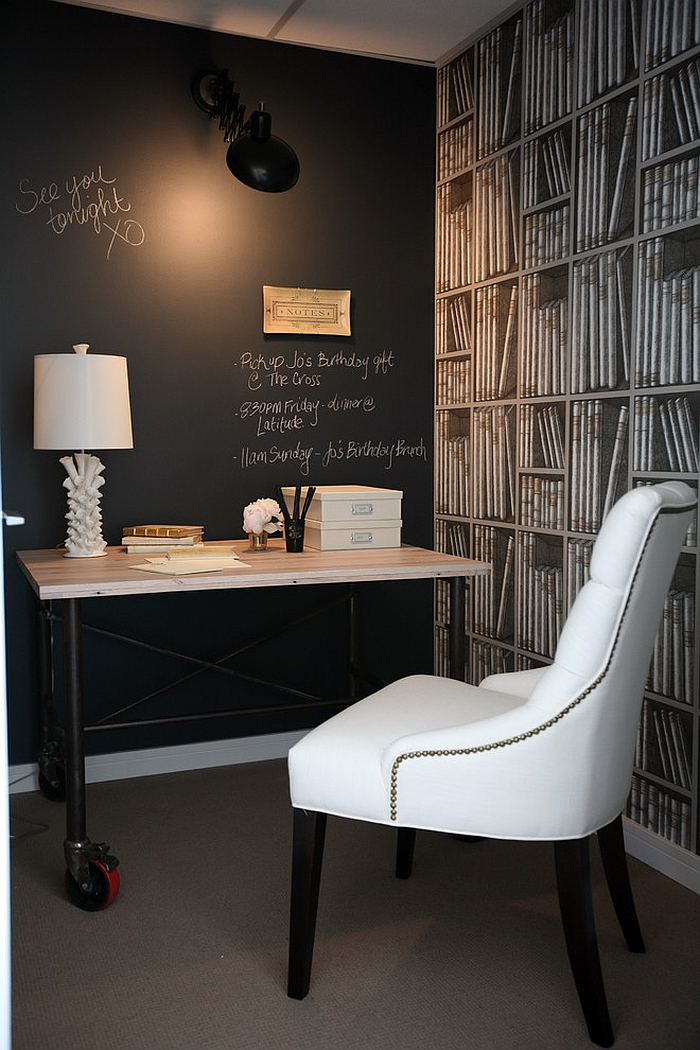 View In Gallery Beautiful Home Office With Chalkboard Wall And Fornasetti  Wallpaper [Design: The Cross Interior Design