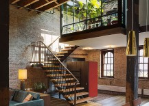 Beautiful staircase connects the living area with the mezzanine level 217x155 Old Caviar Warehouse Converted into a Sensational NYC Loft