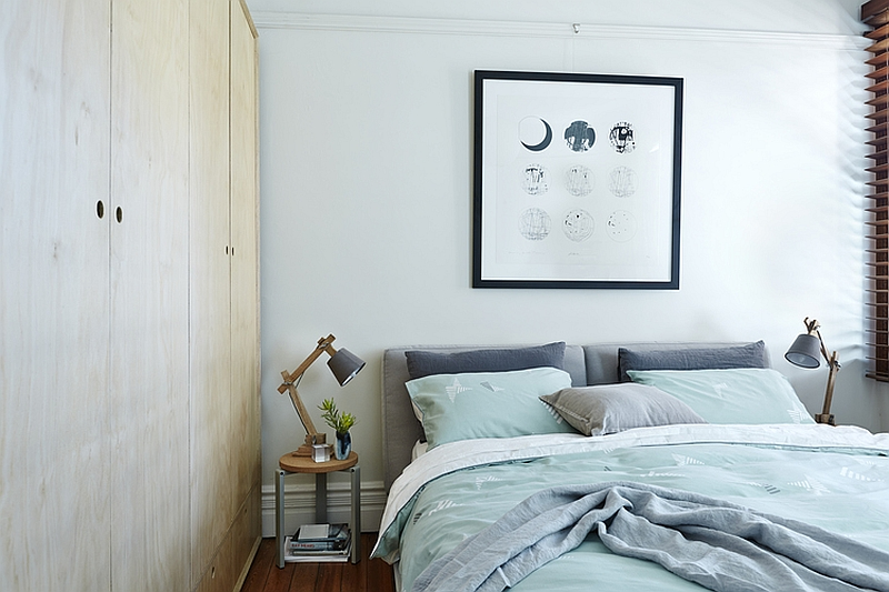Bedding brings color to the neutral bedroom