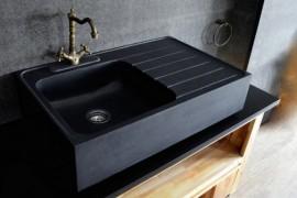 Black Granite Sink  Get Stoned: 11 Incredible Kitchen Sinks Made from Rock Black Granite Sink