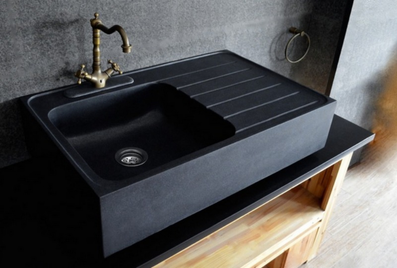 LivingRoc Kitchen Black Granite Apron Farmhouse Sink