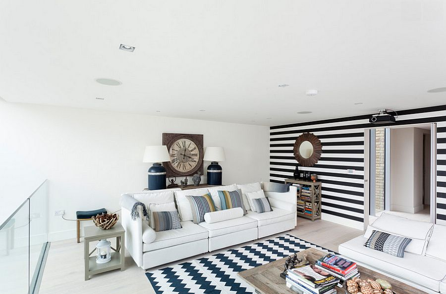 Black and white striped accent wall works with a wide range of styles [Design: LeichtUSA]