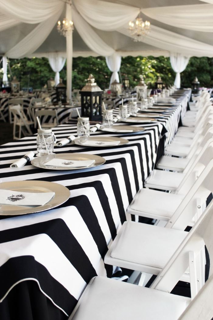 Black and white striped tablecloth from Jessmy