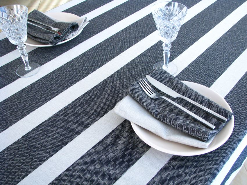 Black and white striped tablecloth from Linen Thread