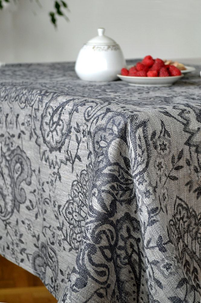Black linen damask tablecloth from Linen Life Ideas