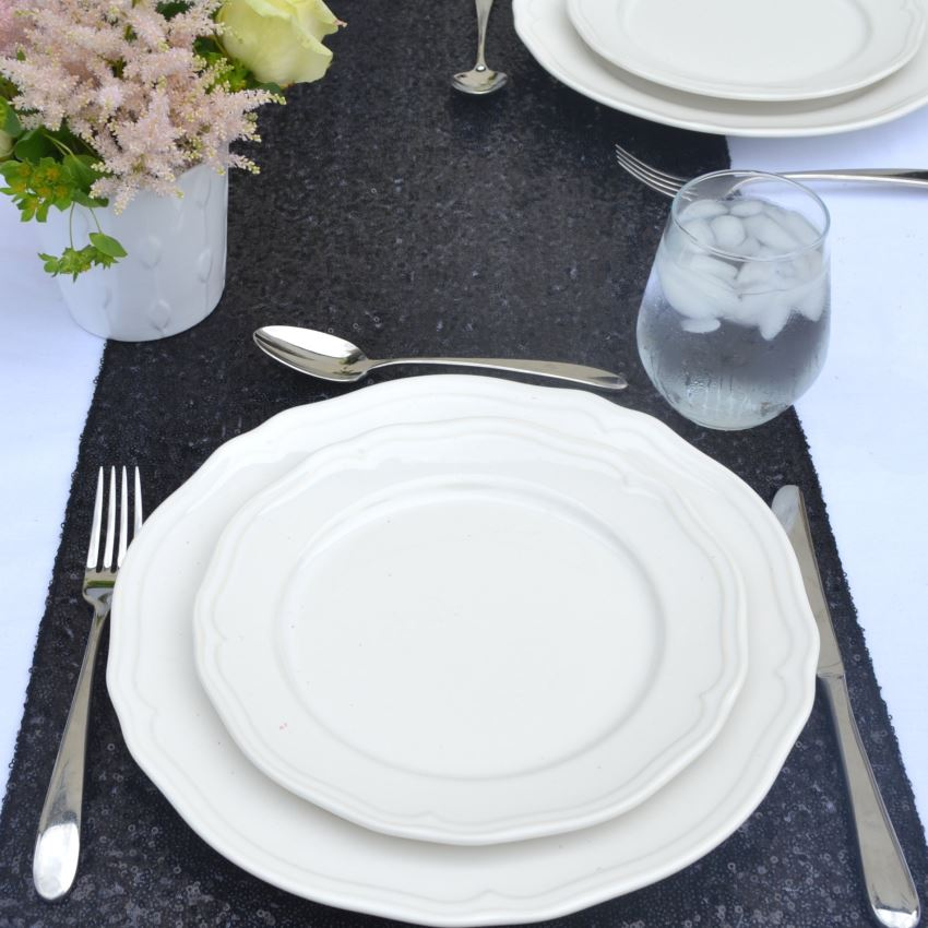 Black sequin table runner from The Sweet Hostess