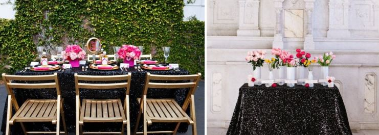 Black sequined tablecloths from Sparkle Pony