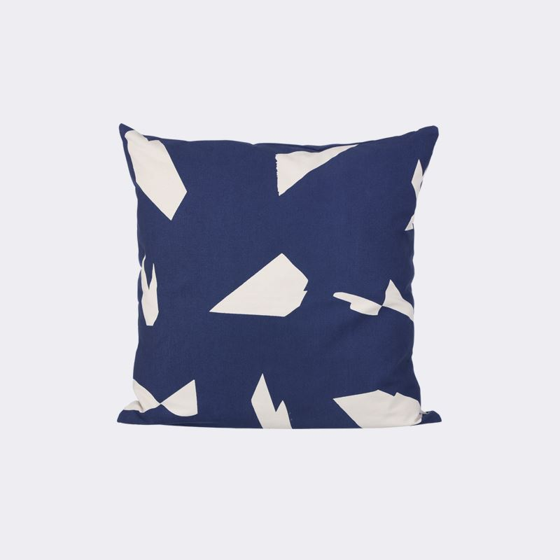 Blue and white geo cushion from ferm LIVING