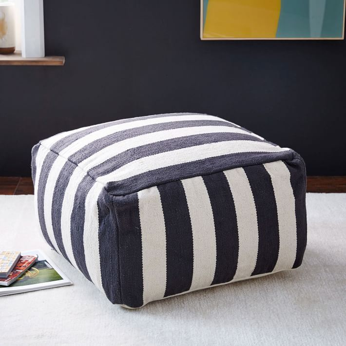 Blue and white striped pouf from West Elm
