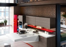Board kitchen design combines warmth of wood with red accents