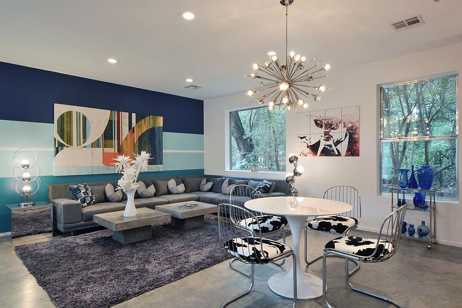 View In Gallery Bold And Colorful Living Room Accent Wall [Design: Keep  Austin Designed]