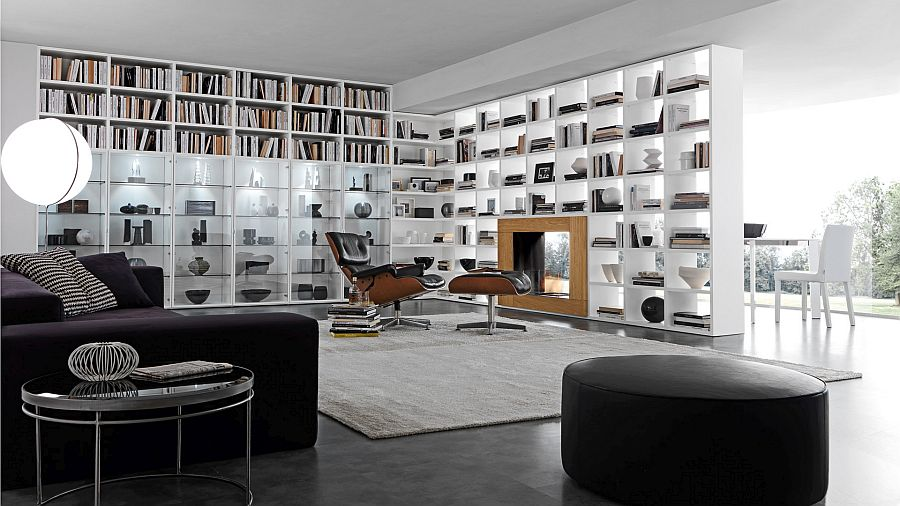 Bookcase system serves as a partition between the living area and patio