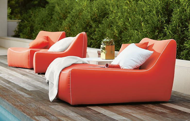 View in gallery Bright orange chaise lounge from Room & Board - Outdoor Seating Solutions For Spring