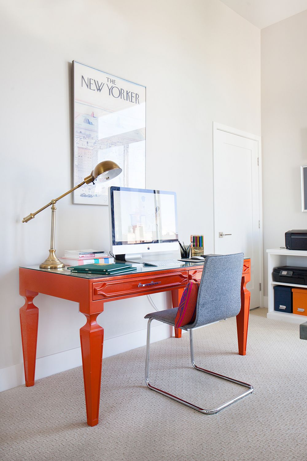 Bright orange desk brings color to the home office [Design: Homepolish]