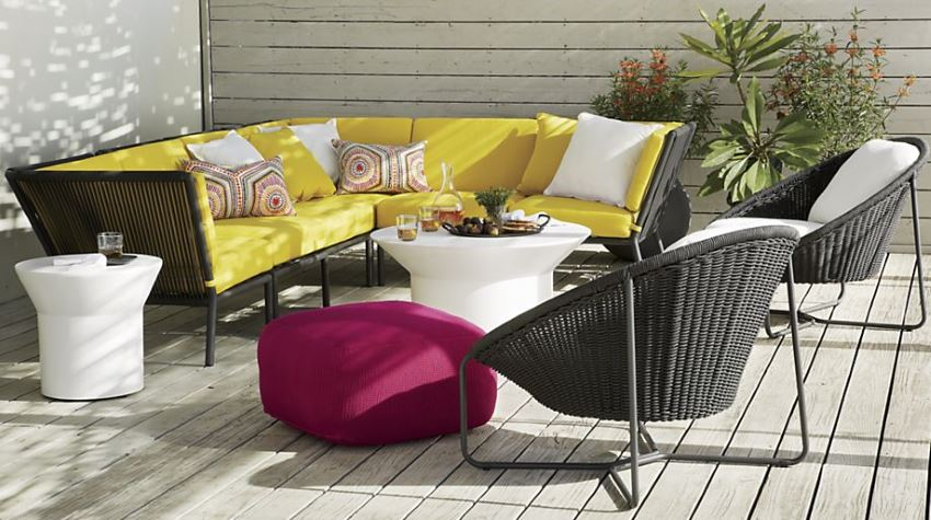 Bright yellow outdoor seating from Crate & Barrel
