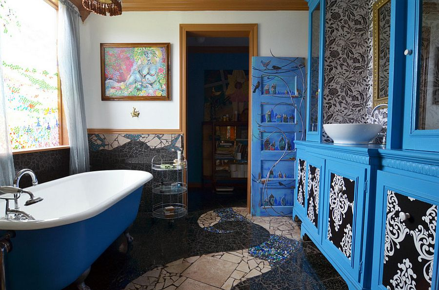 Brilliant bathroom in blue with gorgeous wall art [From: Sarah Greenman]