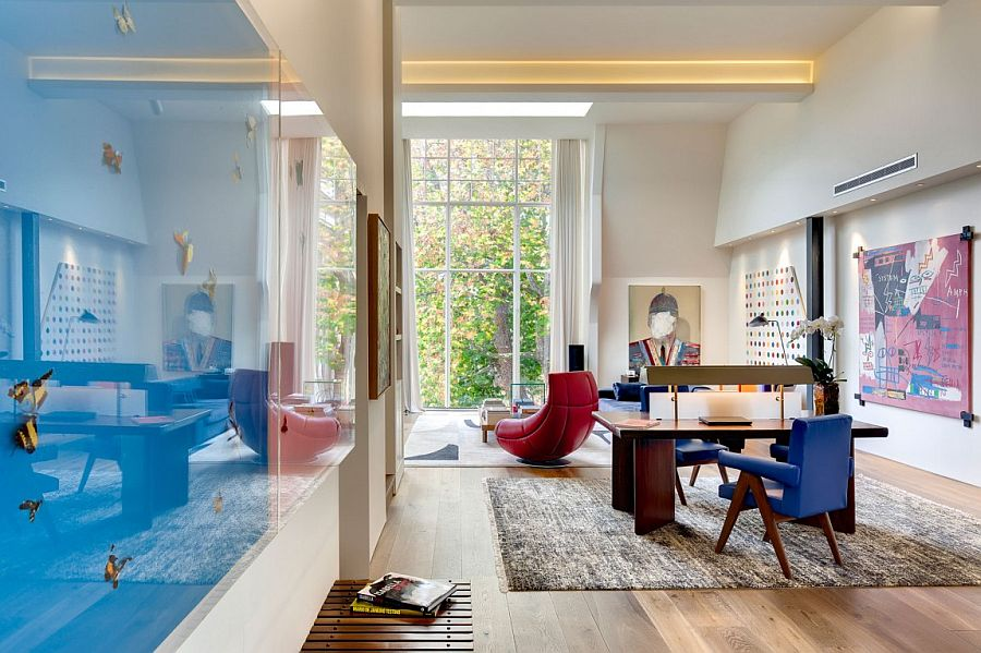 Brilliant pops of red and blue in the airy living area