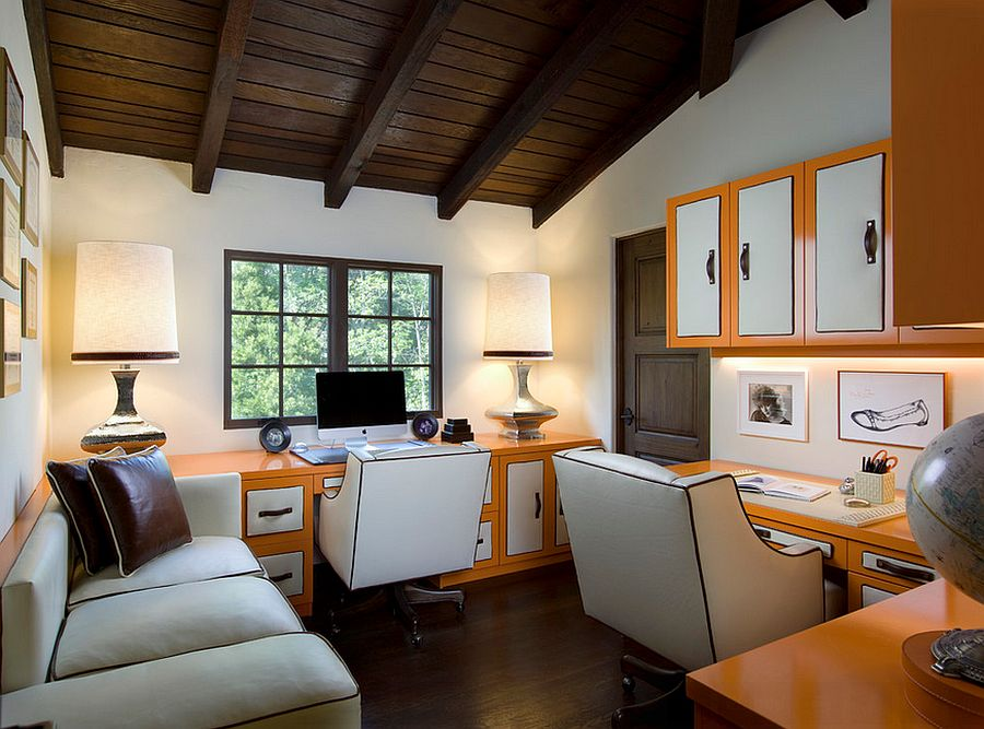 Bring orange goodness to the home office without using the walls [Design: SoCal Contractor]