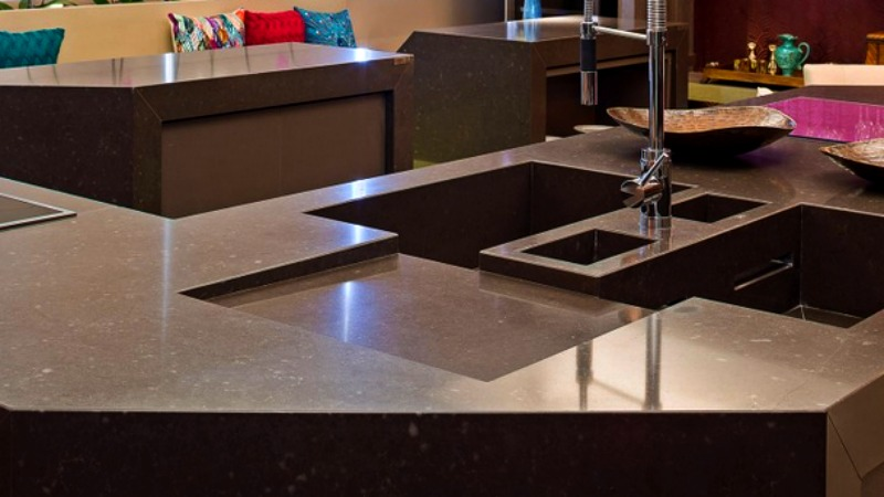 Brown Silestone Sink
