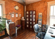 Burnt orange brings rustic charm to the home office
