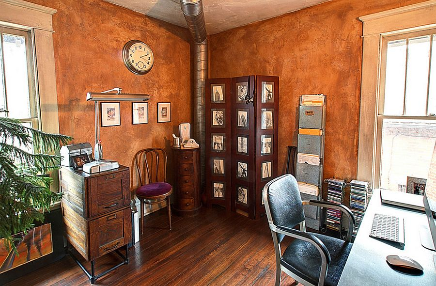 Hot trend 25 vibrant home offices with bold orange brilliance - Burnt orange feature wall living room ...