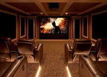 Carpet adds to the appeal of the home theater 217x155 10 Awesome Basement Home Theaters That Deliver Movie Magic!