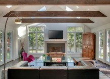 Ceiling beams work well in contemporary rooms as well