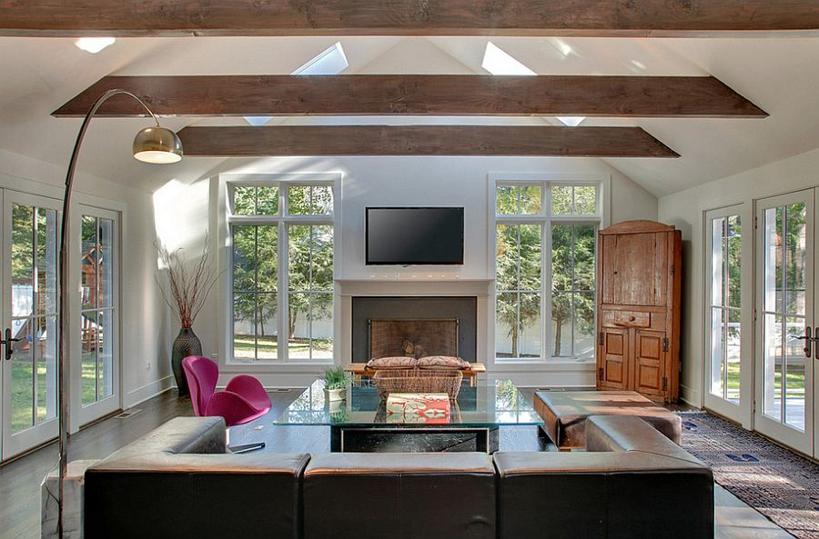 Sizing it down how to decorate a home with high ceilings for Adding wood beams to ceiling