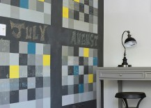Chalkboard wall shapes a dynamic and fun calendar in the home office 217x155 20 Chalkboard Paint Ideas to Transform the Modern Home Office