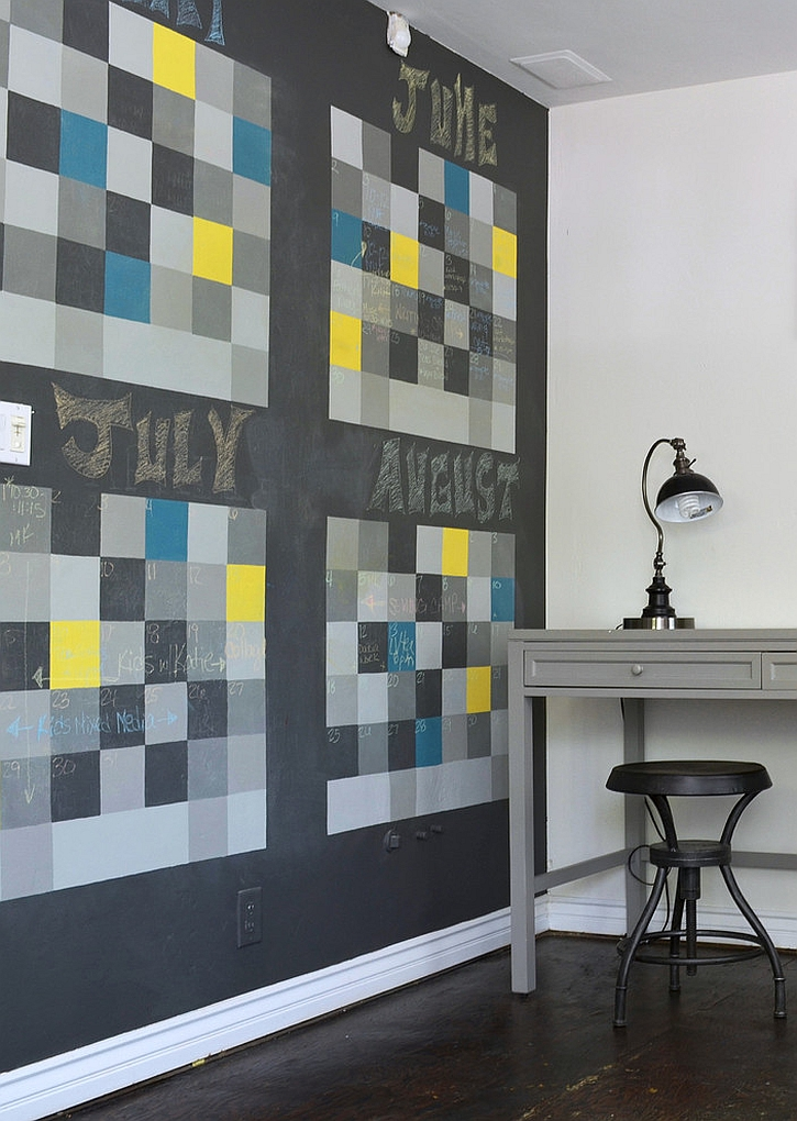 Chalkboard wall shapes a dynamic and fun calendar in the home office [From: Sarah Greenman]