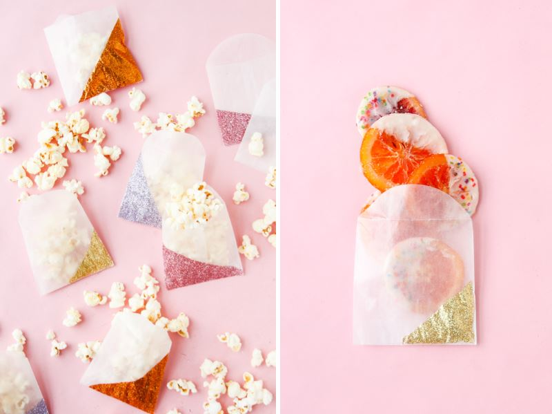 Color blocked glitter gift bags from Paper & Stitch