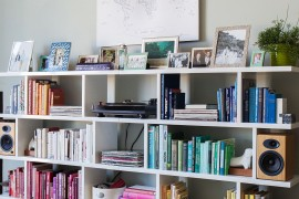 Color coded living room bookshelf idea for the modern home